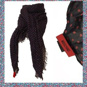MOSCHINO Peace & Love 100% Modal Scarf Navy & Red